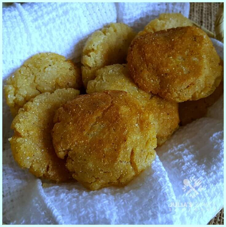 Old fashioned pan fried hot water cornbread - hoe cakes - corn pone
