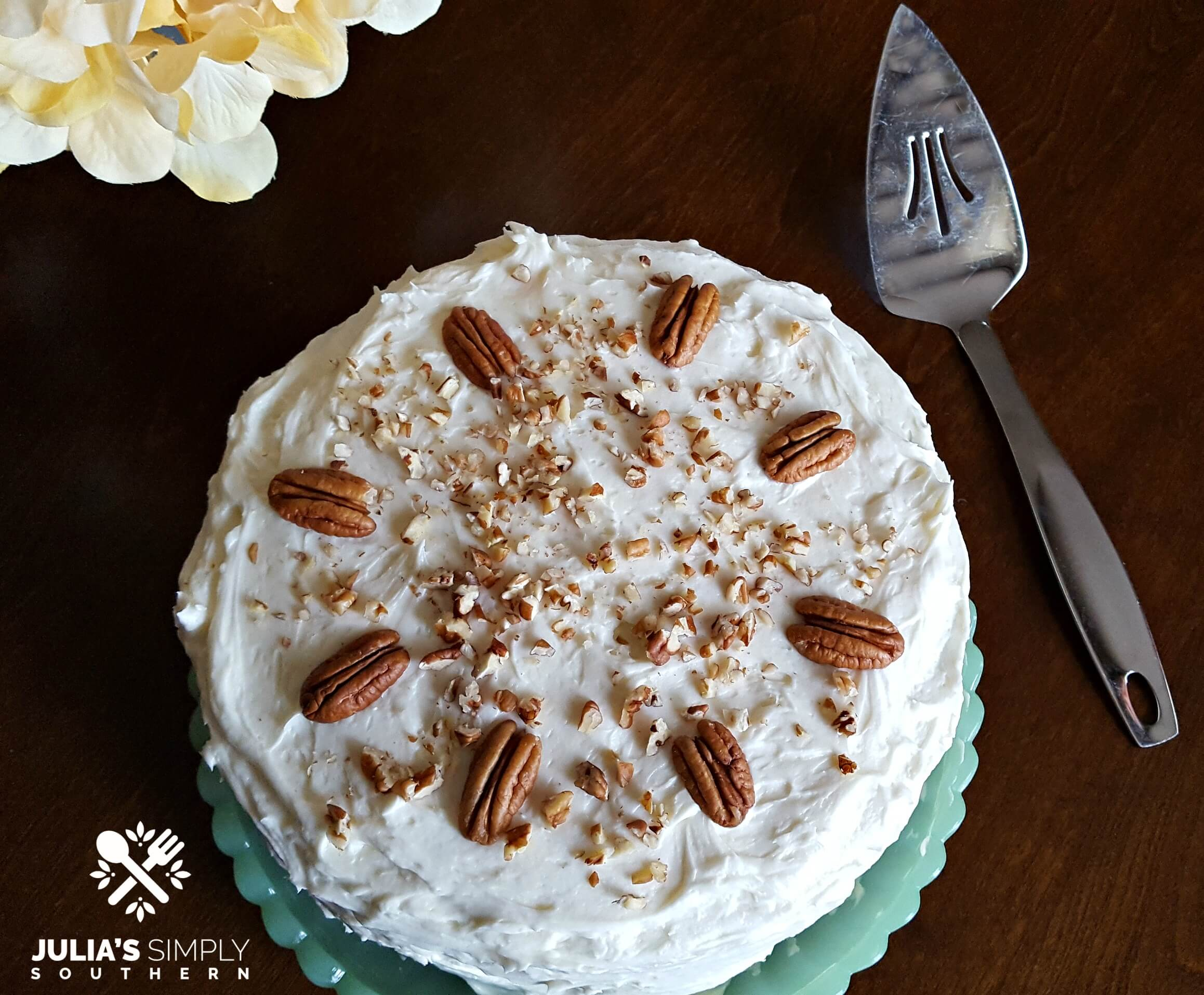 Hummingbird Cake on a green jade platter and silver server