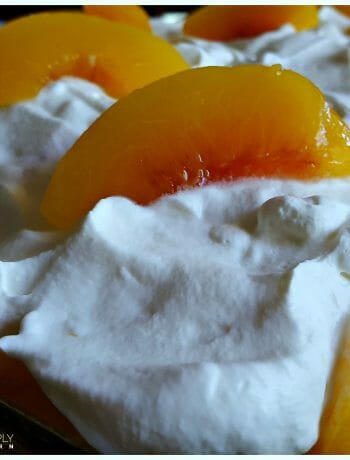 Semi-homemade dessert - Peaches and Cream Poke Cake