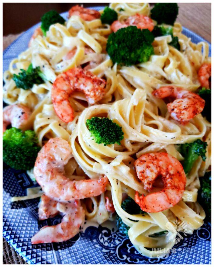 Best ever Blackened Shrimp and Broccoli Alfredo Recipe