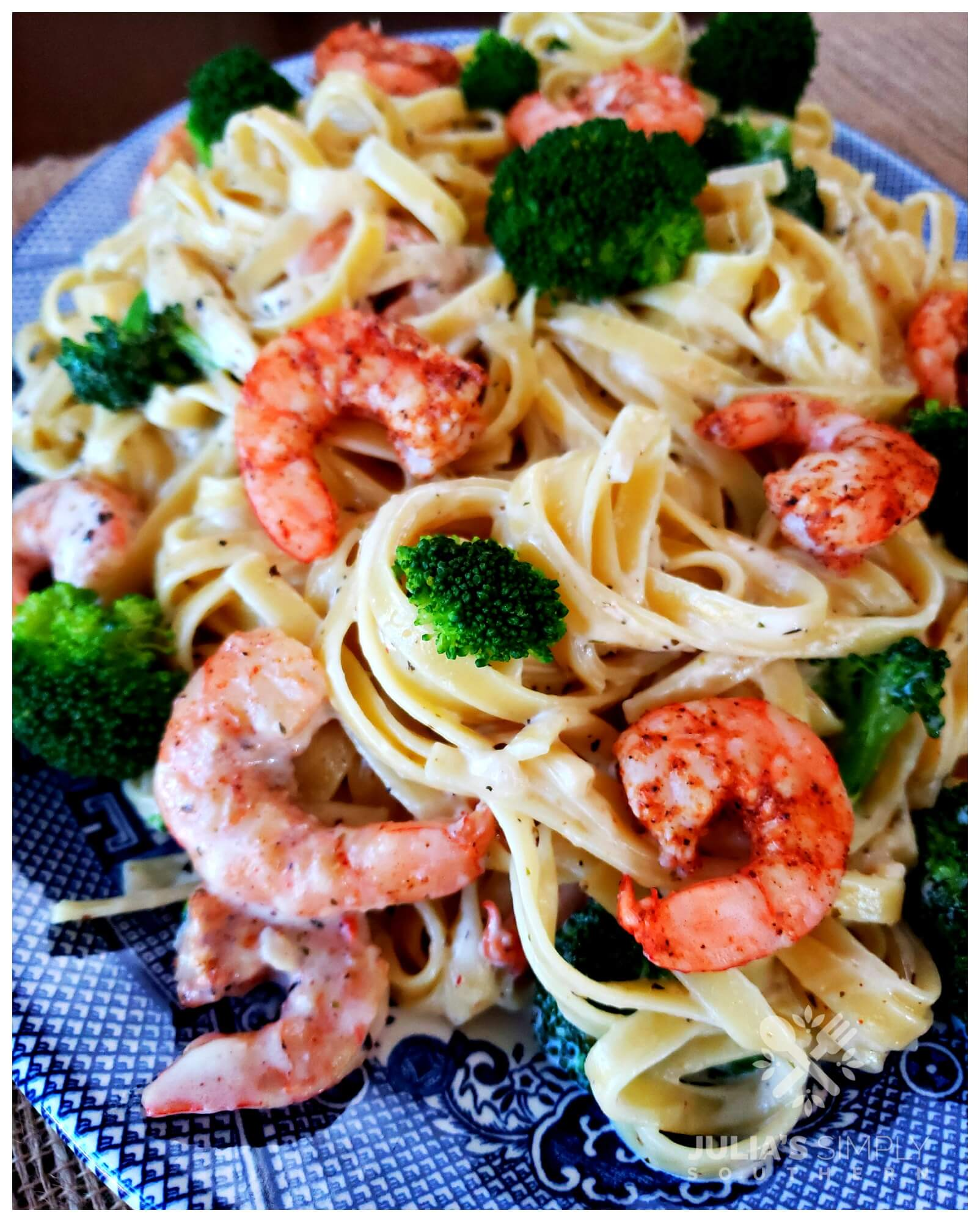 Best ever Blackened Shrimp and Broccoli Alfredo Recipe