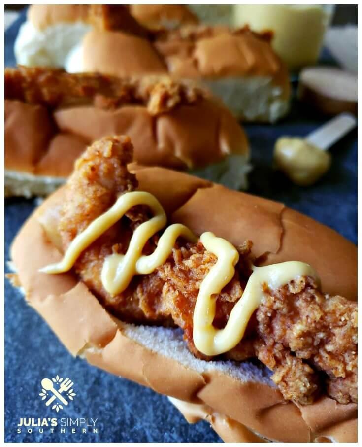 Famous South Carolina Bird Dogs Recipe topped with creamy honey mustard