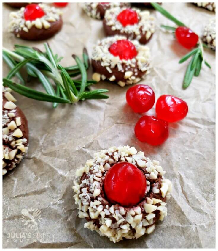 Beautiful Christmas Cookies Recipe - Chocolate Cherry Almond Crown Cookies