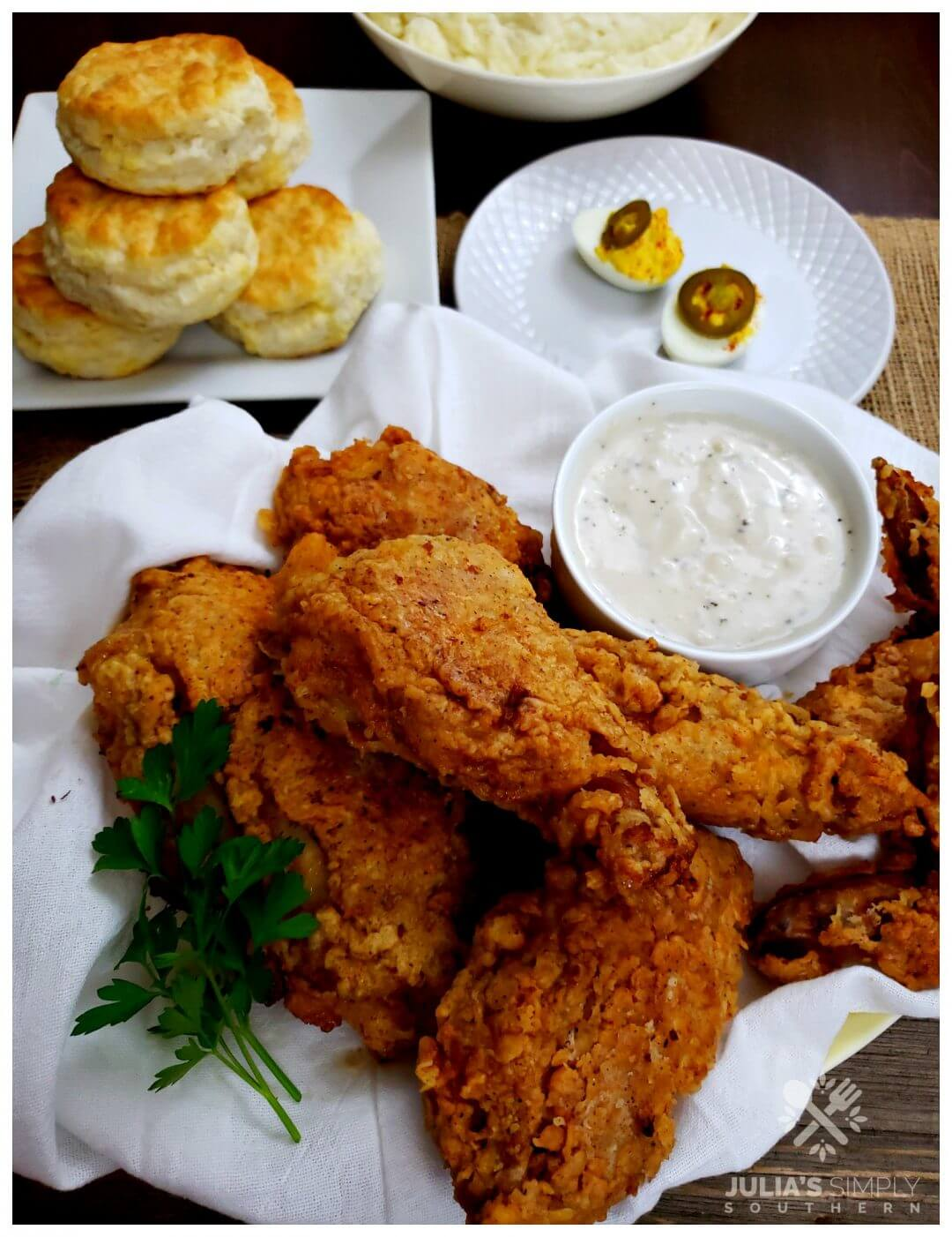 Grandmama's Southern Fried Chicken Recipe in a skillet
