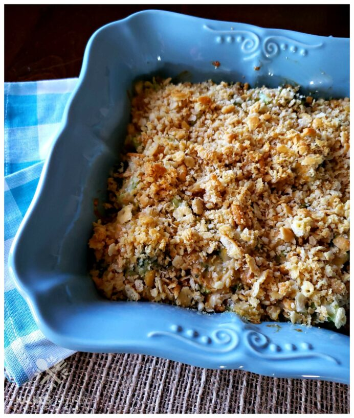 Classic Broccoli Casserole Recipe with Ritz Crackers in a square teal casserole dish