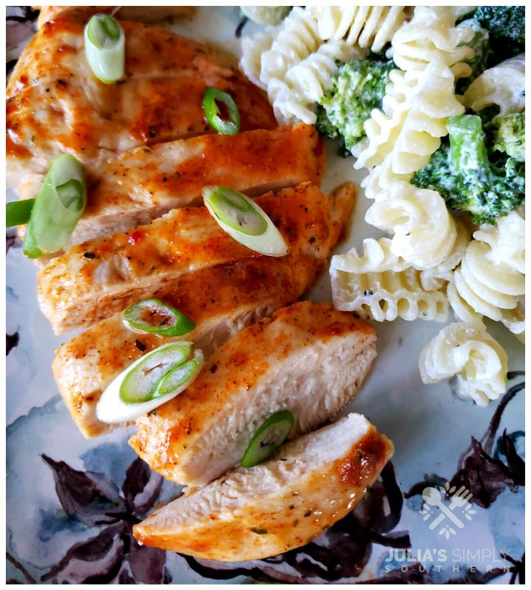 Low Carb Ranch Mix Baked Chicken topped with scallions