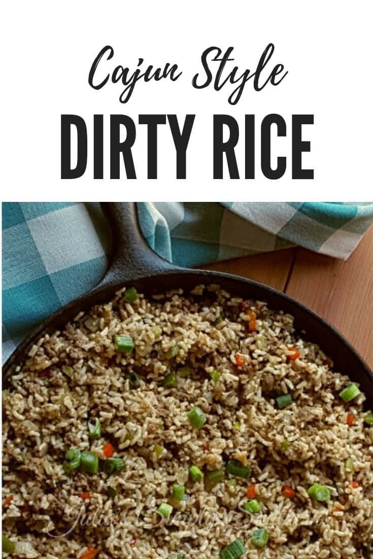 Cajun Dirty Rice is a delicious side or main meal. Made with ground beef, pork breakfast sausage, chicken livers, veggies and all the right spices you'll love this savory meal #Rice #SideDish #SouthernFood