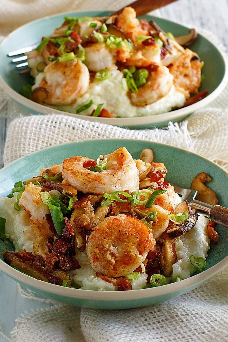 Charleston lowcountry shrimp and grits recipe with bacon - Julia's Simply Southern