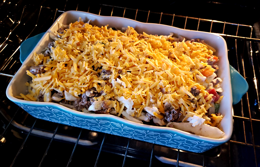 Baking a cheesy casserole in the oven
