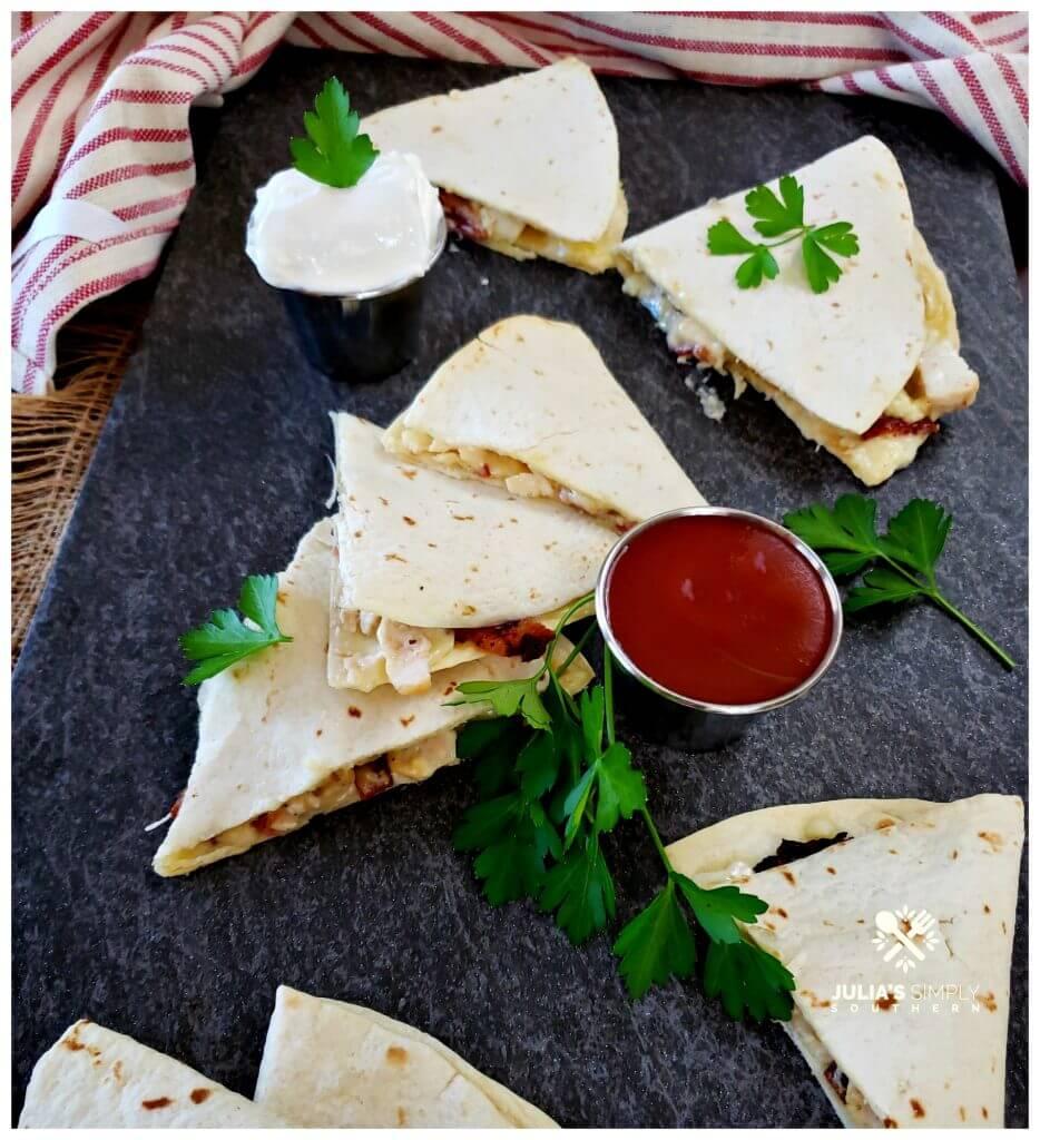 Easy chicken tortilla melt - quesadilla appetizer