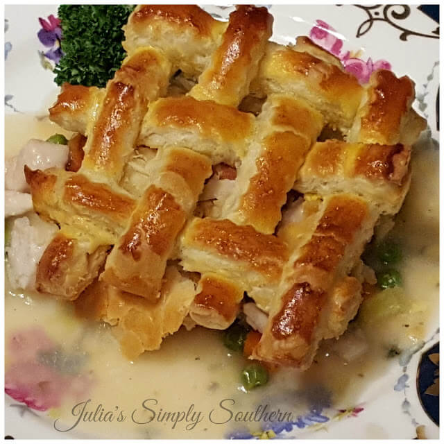 Easy chicken pot pie recipe topped with optional lattice puff pasty