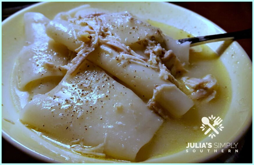 Southern Style Chicken and Dumplings with thin pastry noodle like dumplings