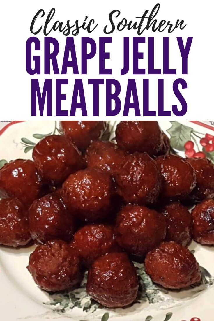 Classic Southern Grape Jelly Meatballs are a classic Southern party food that you can make in the slow cooker. This easy appetizer is made with just a few ingredients and always a hit for any gathering. #SouthernFood #Appetizers #Crockpot #EasyRecipe