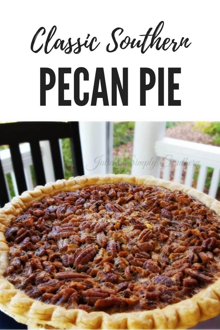 Classic Southern Pecan Pie is a holiday favorite dessert. This pie is made with a rich filling with Karo syrup and fresh pecans that magically rise to the top during baking. #Dessert #Pie #PieRecipes #SouthernFood #HolidayDesserts #PecanPie