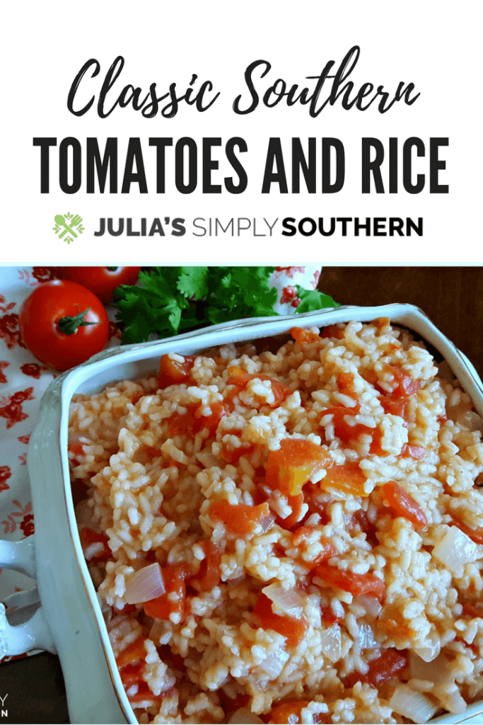 Looking for a rice recipe? Southern Tomatoes and Rice is an easy side dish and classic favorite #tomatoes #sidedish #delicious #familydinner