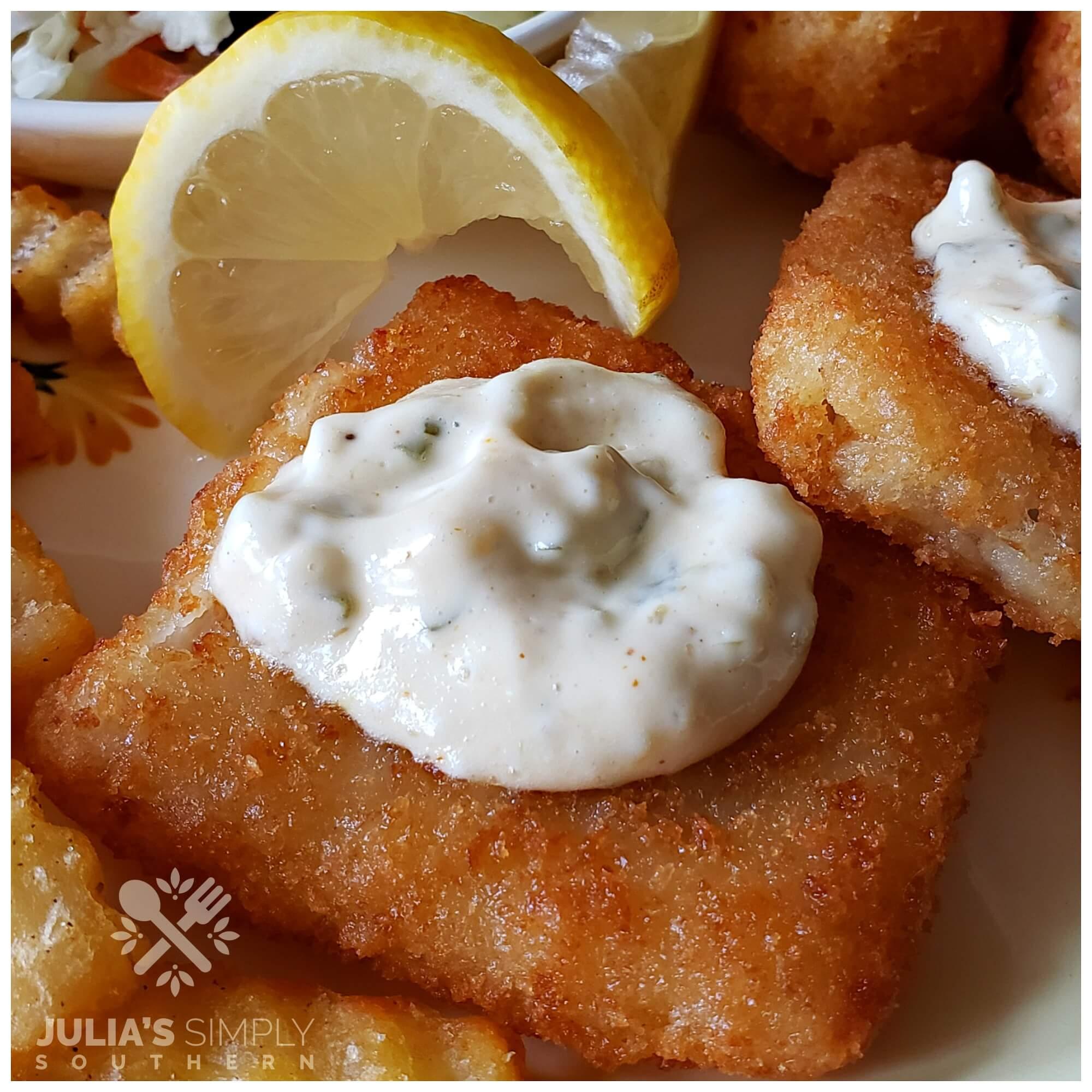Southern tartar sauce on fried fish