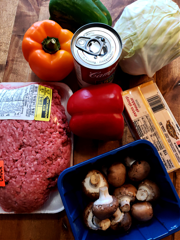 ingredients to make cheesy ground beef and cabbage casserole recipe