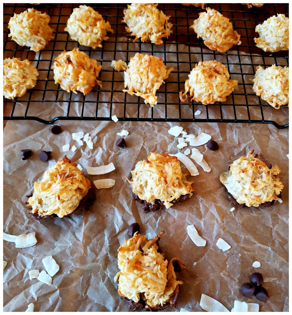 Coconut Macaroons garnished with chocolate chips and coconut flakes
