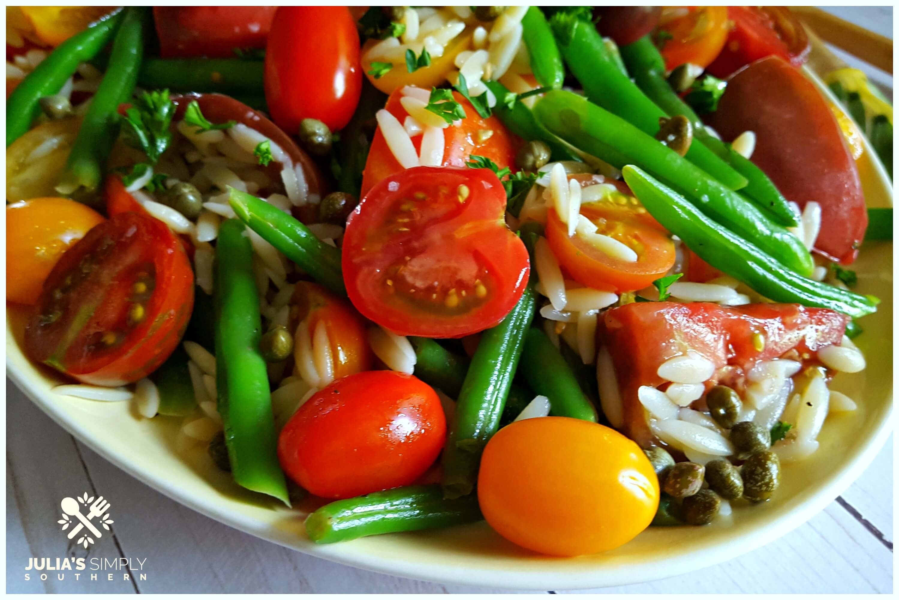 Fresh tomato and green bean salad served cold