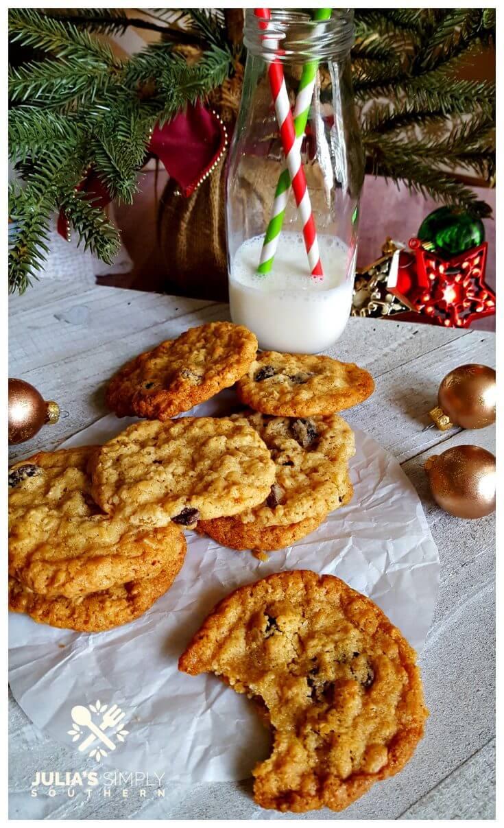Homemade Cookies for Santa - Oatmeal Raisin Cookies