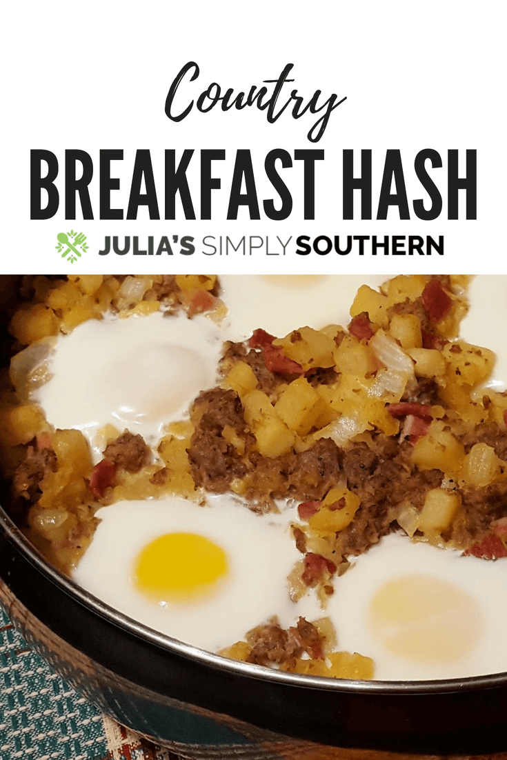 Country Breakfast Hash has all of the good stuff: Hash brown potatoes, country ham, sausage and eggs. Perfect when you have guests. #breakfast #breakfastrecipes #brunch