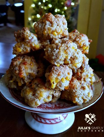 Red & White Christmas Platter Pedestal with Cream Cheesy Cheddar Sausage Balls