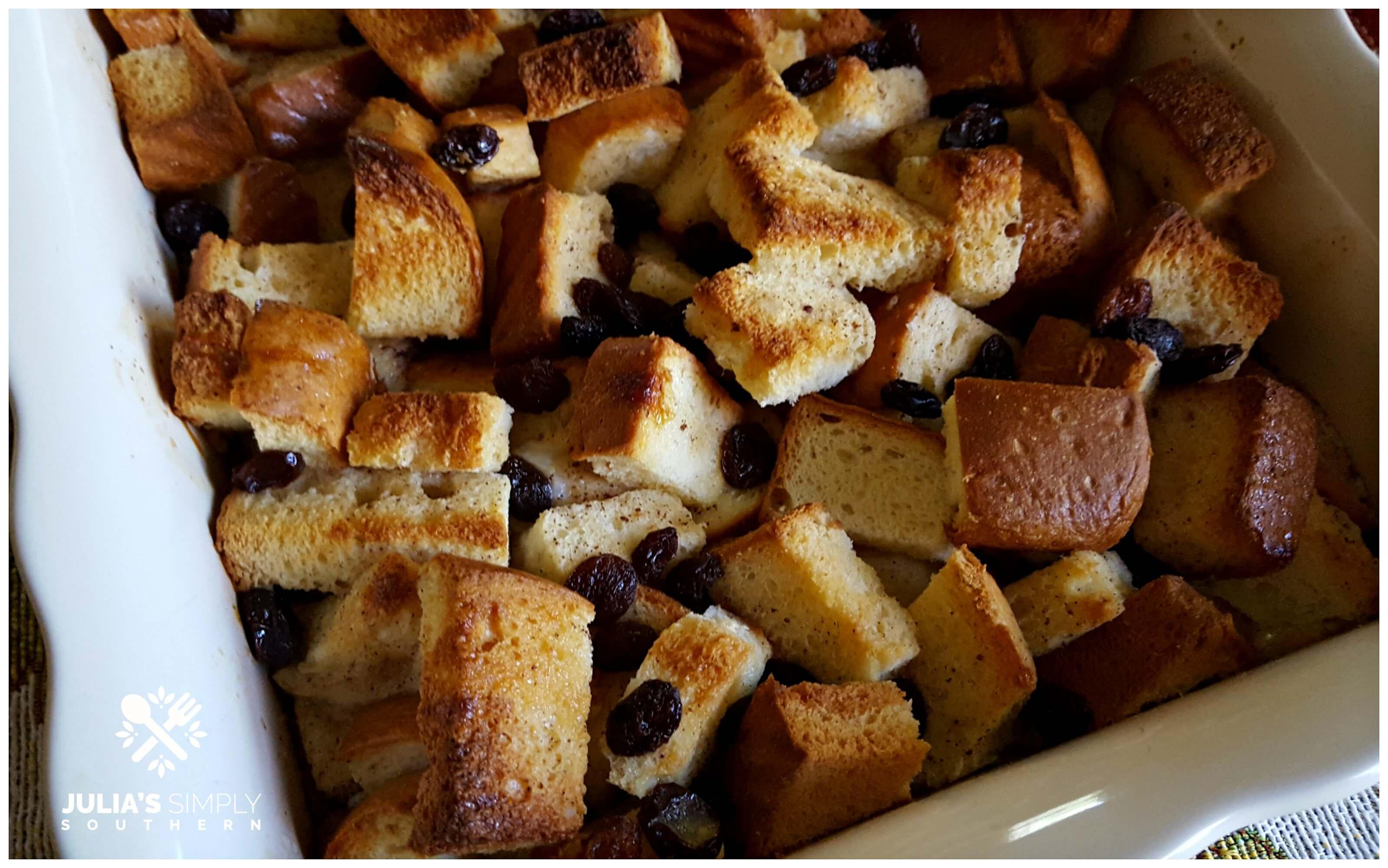 Classic Bread pudding dessert - comfort food - in a casserole dish