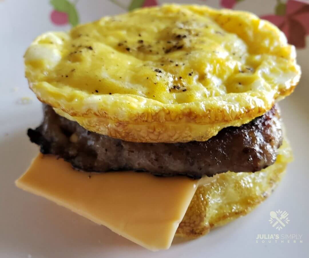 Keto Friendly Low Carb Egg Muffin Breakfast Sandwiches with sausage and cheese - quick breakfast recipe