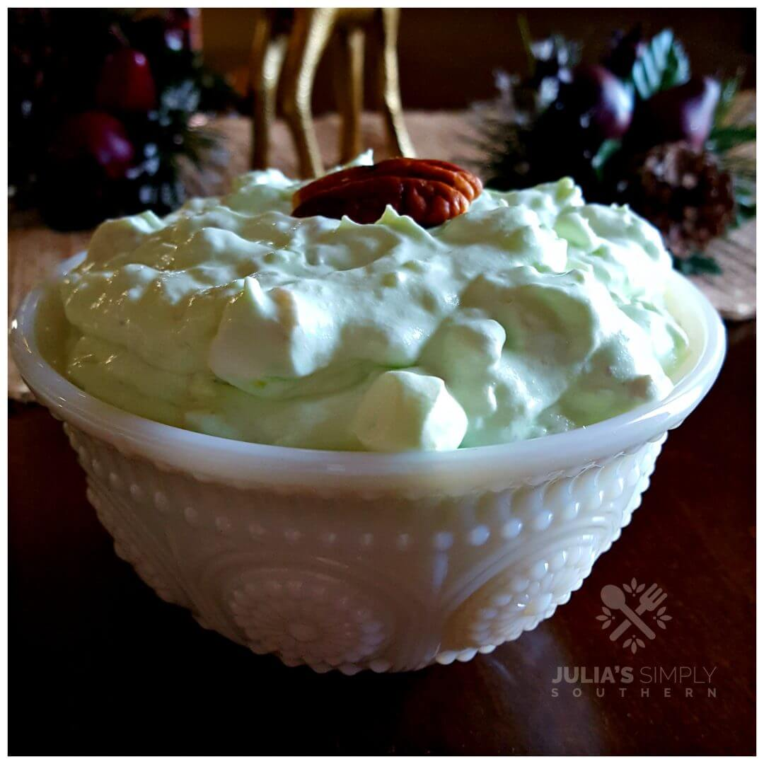 Classic Watergate Salad in a white milk glass bowl