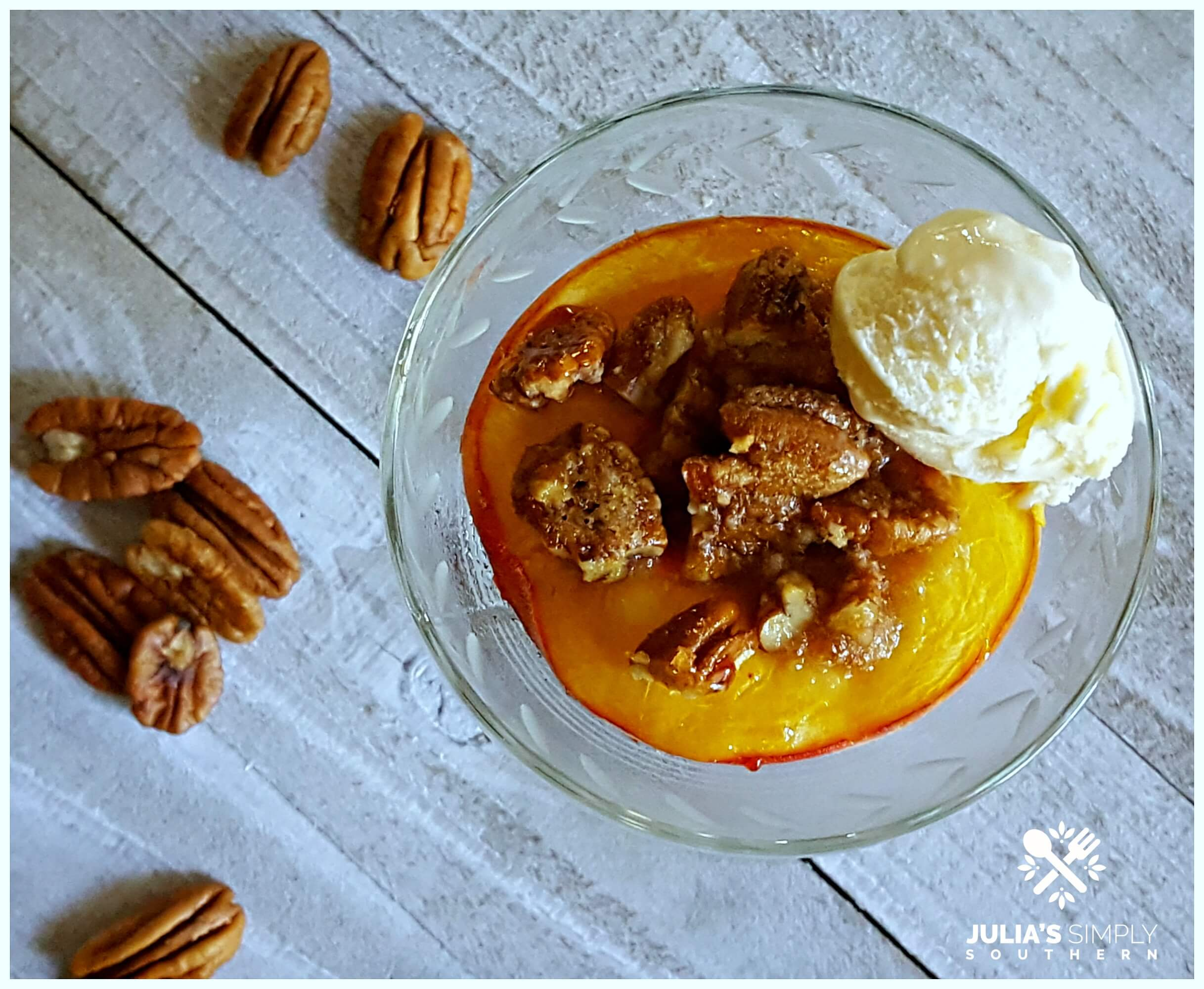 Fresh Peaches Dessert - Bourbon baked peaches - Julia's Simply Southern
