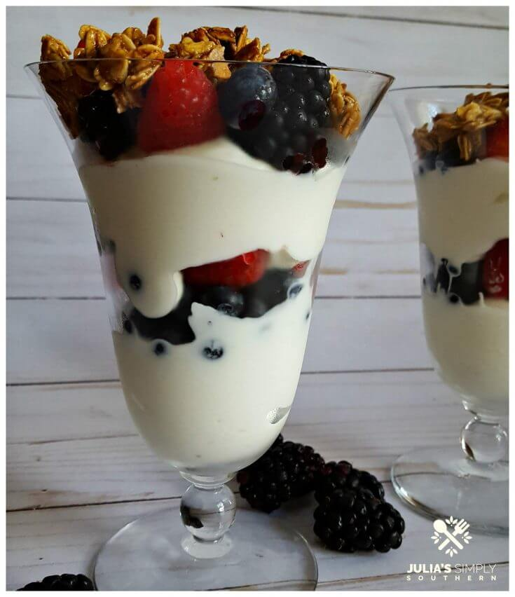 Layered fruit and yogurt parfaits with granola topping in a parfait glass