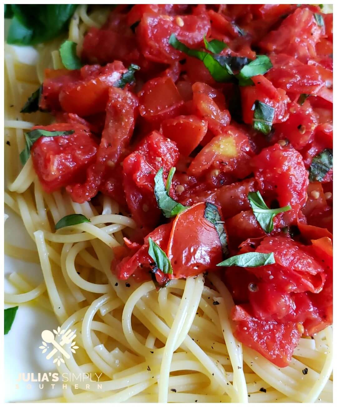 Fresh summer tomatoes with basil and pasta. This easy recipe cooks up quick for busy family dinners.