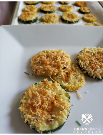 Awesome squash recipe baked with Parmesan Cheese and crunchy Panko bread crumbs in the oven. Seasoned perfectly.