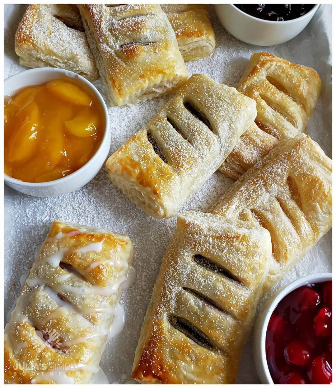 Easy 3 Ingredient fruit filled hand pies made with puff pastry and canned pie filling of your choice. Easy, delicious and kid friendly dessert.