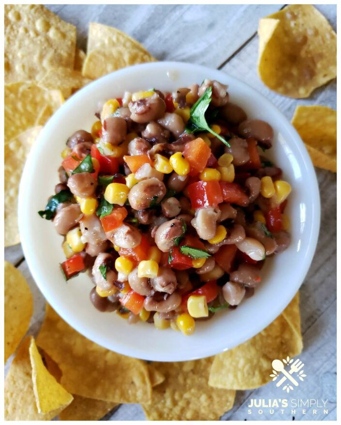 Delicious and easy black eyed pea dip or salsa served with fresh tortilla chips