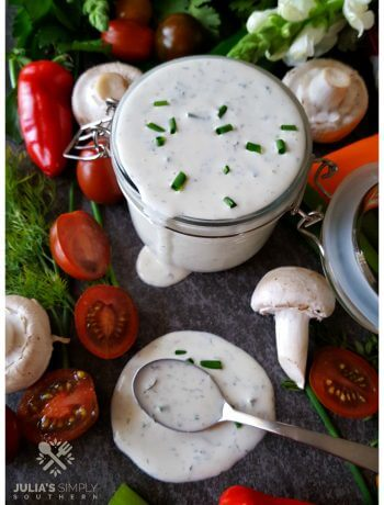 Easy Homemade Buttermilk Ranch Dressing with Duke's Mayonnaise and fresh herbs