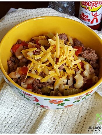 Easy Old Fashioned Goulash served in a bowl from the Pioneer Woman collection