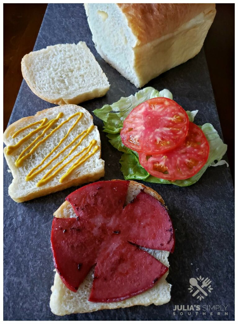 Old fashioned fried baloney sandwich on squishy white bread