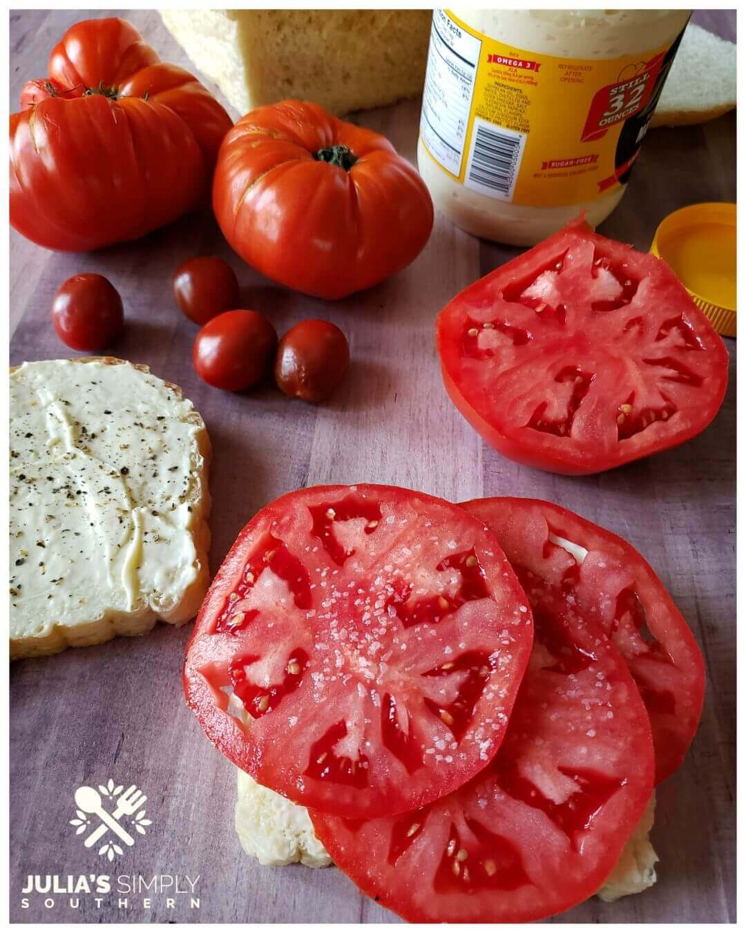 Vine Ripe Tomato Sandwich on white bread with mayonnaise, salt and pepper