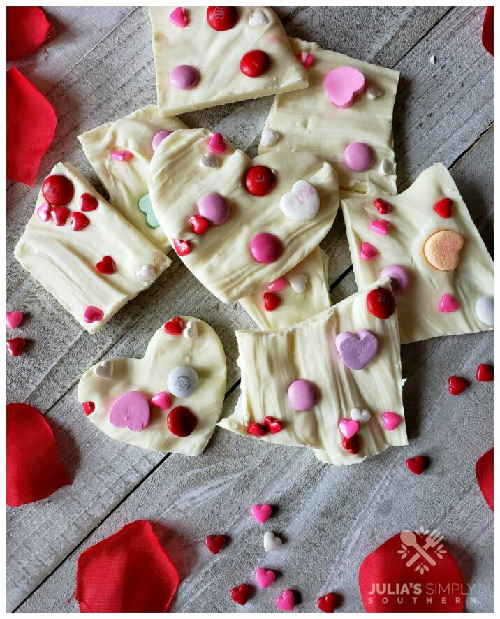 White Vanilla Chocolate Valentine's Day Homemade Treats - Easy - food gifts - hearts