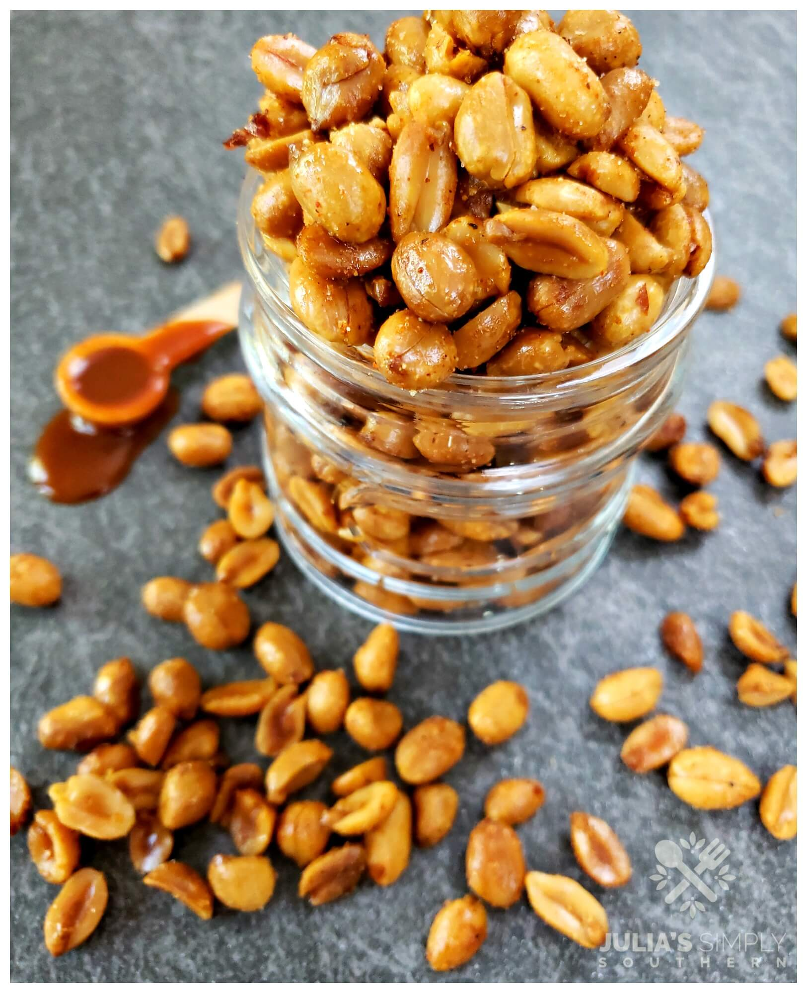 An easy appetizer party food with nuts. Serve delicious bbq peanuts that are a mix of smokey, sweet and spicy that guests will love.
