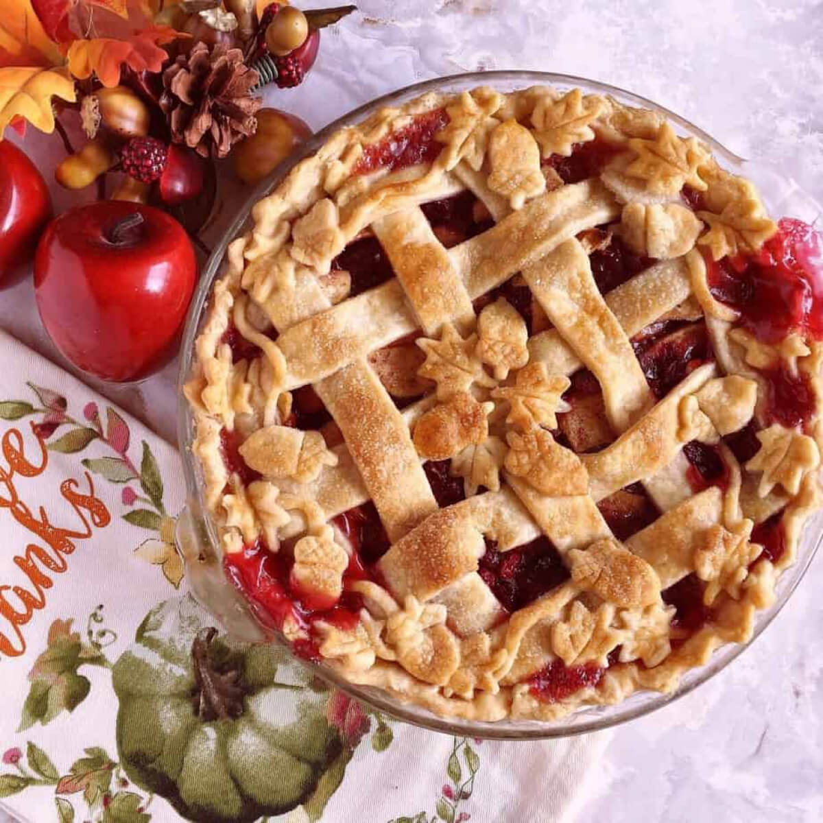 Cranberry Apple Pie with a beautiful decorative crust