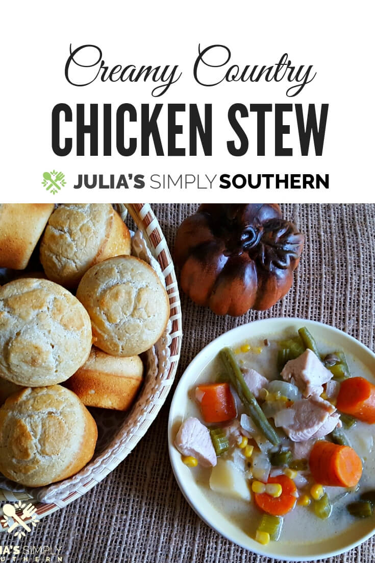Creamy Country Chicken Stew, also known as chicken mull, is a delicious comfort food meal. Cooks in just an hour on the stove top or make it in a slow cooker #Chicken #ChickenRecipes #Stew #Soup #SouthernFood #Vegetables | Julia's Simply Southern
