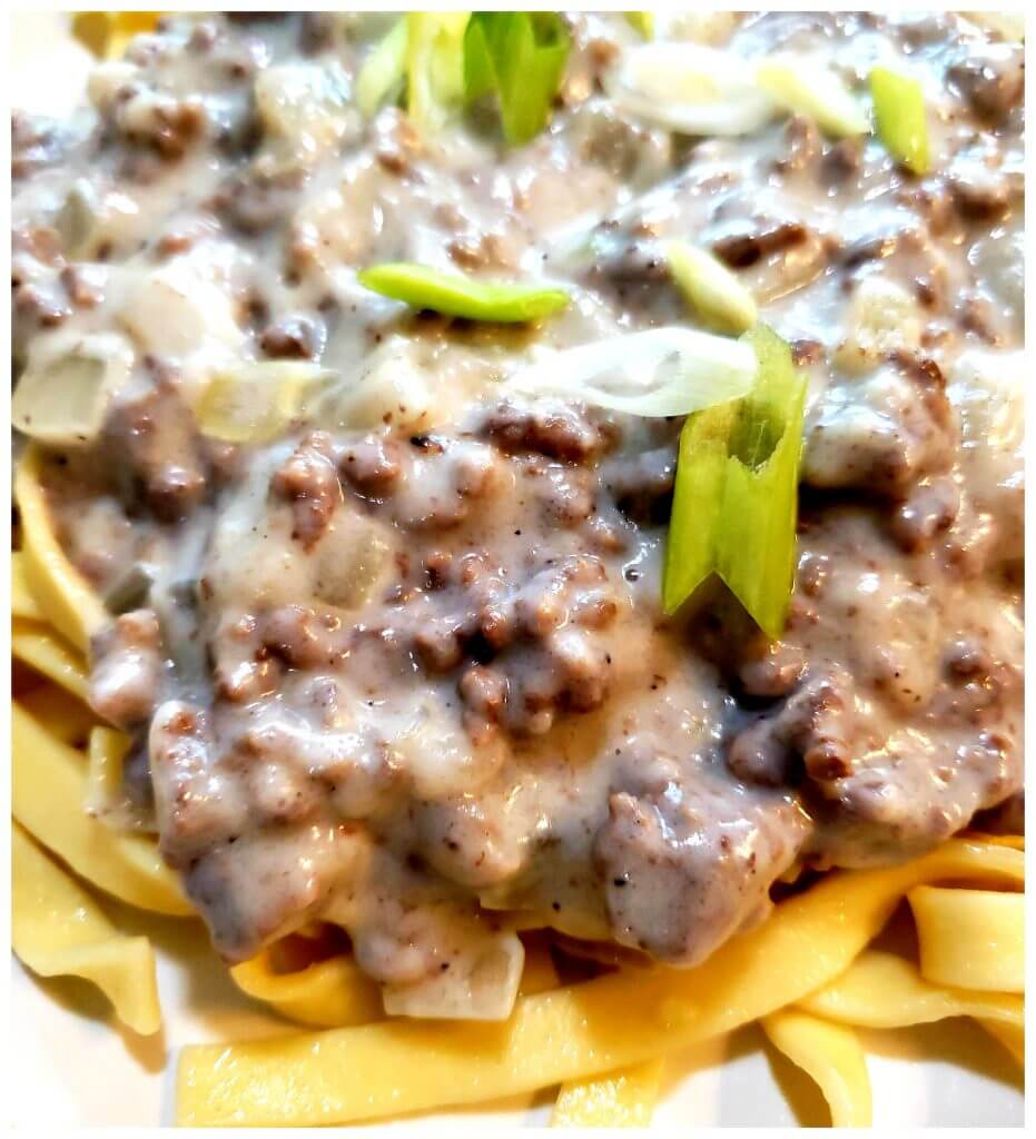 A bed of cooked noodles topped with thick creamy hamburger gravy garnished with sliced spring onion