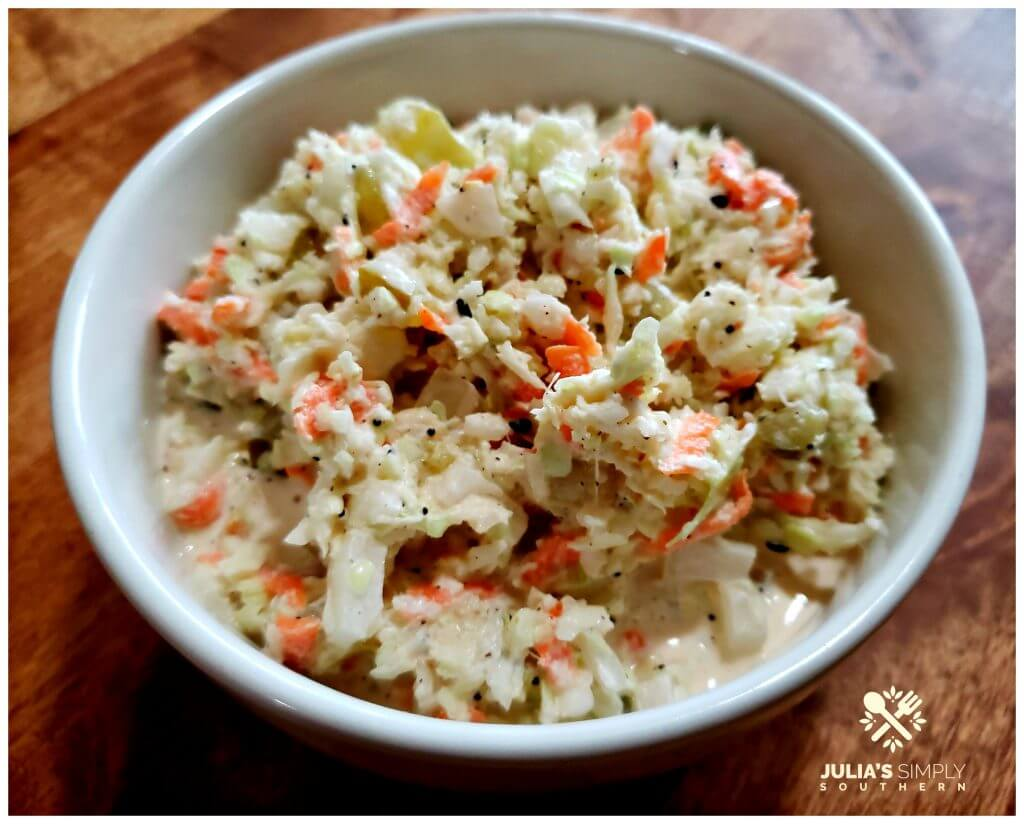Dill Pickle Buttermilk Coleslaw Recipe in a white serving bowl