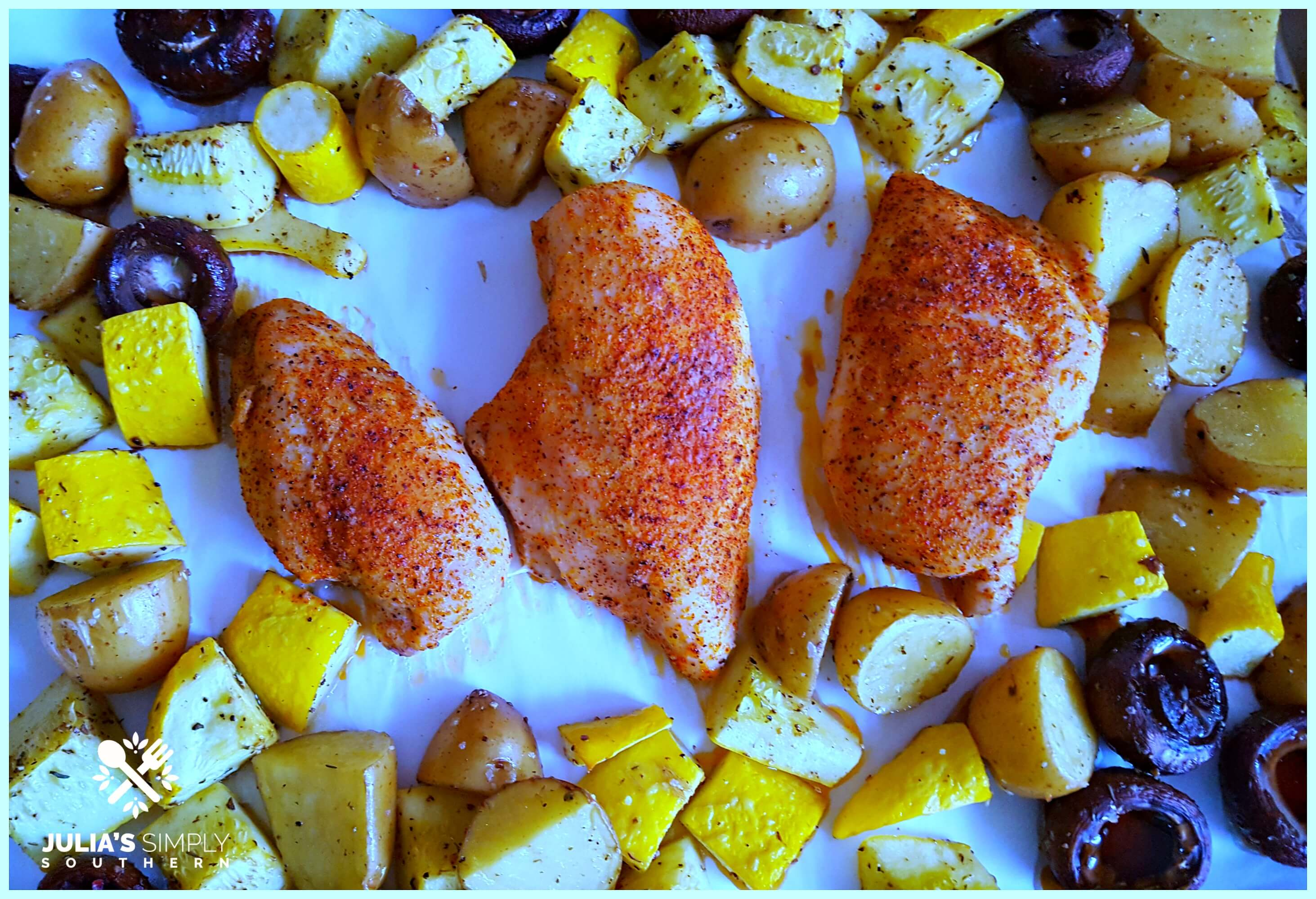 Healthy Sheet Pan Dinners - Creole Chicken with Roasted Vegetables