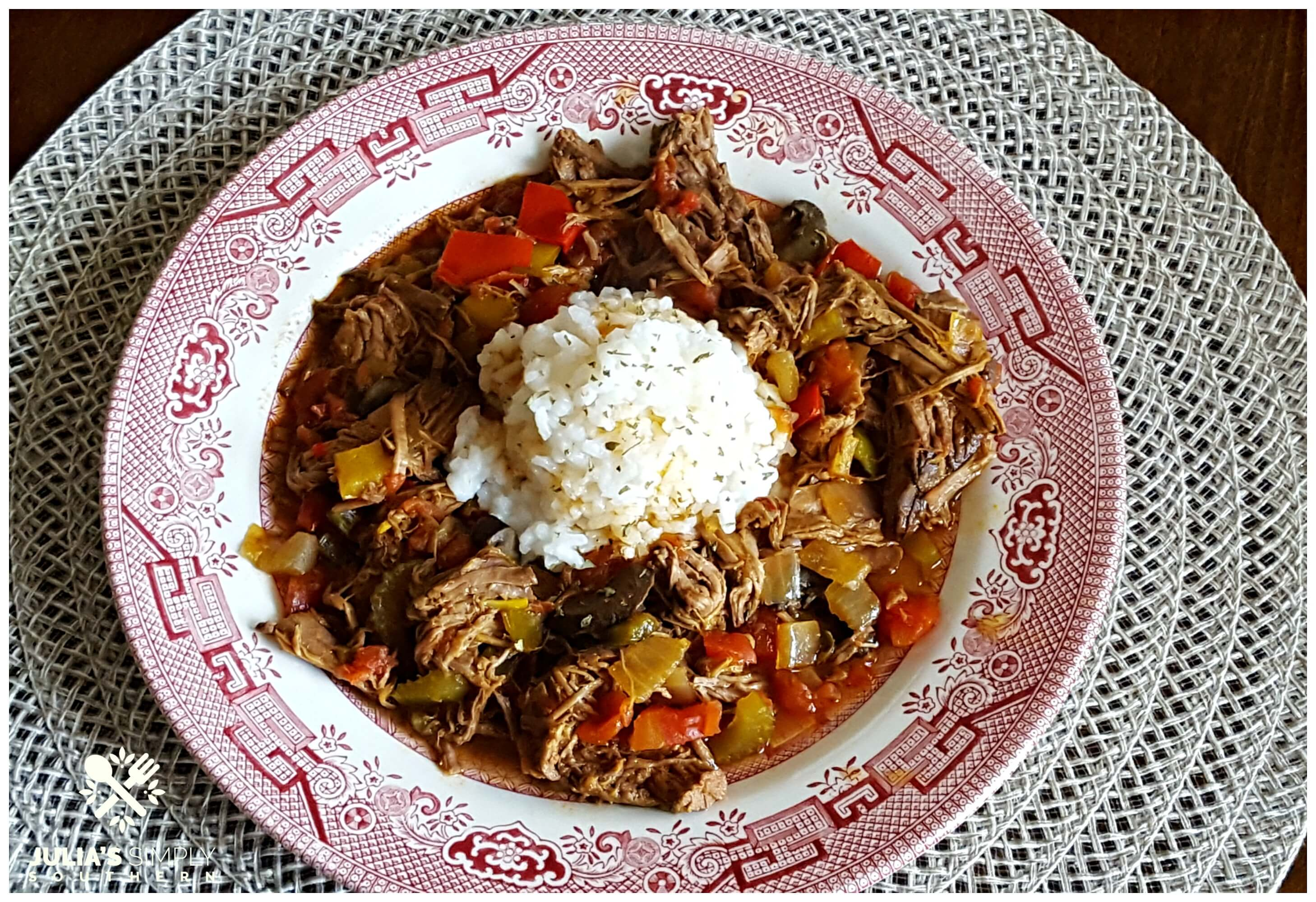 Easy Crock Pot Beef Recipe served with rice on a china plate