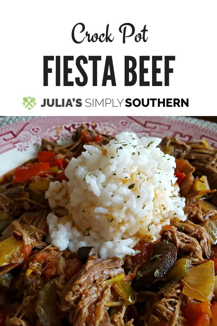 Crock Pot Fiesta Beef is an easy to prepare recipe in your slow cooker and can be served over rice or used as a taco filling #crockpot #slowcooker #beef #delicious | Julia's Simply Southern