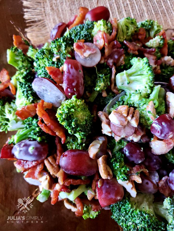 Crunchy Broccoli Salad Recipe in a vintage amber serving bowl