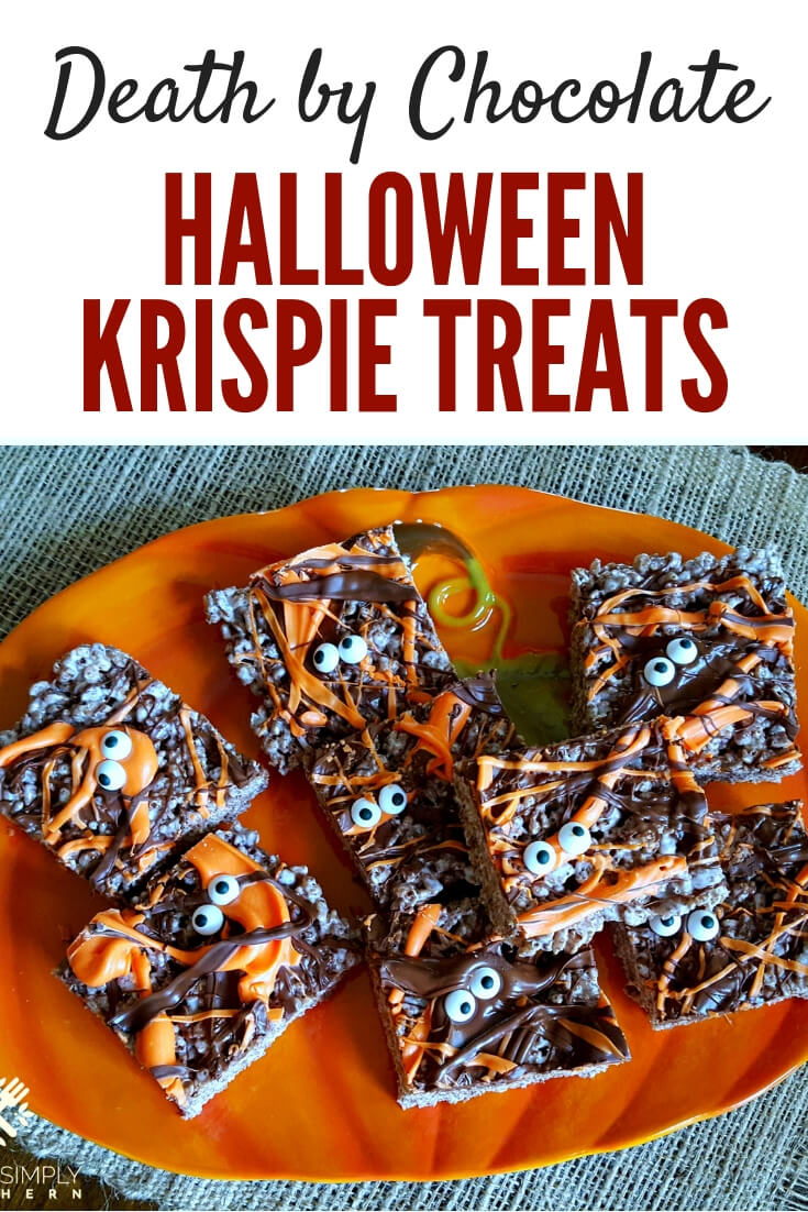 Death By Chocolate Halloween Treats are easy, kid friendly and delicious! The perfect spooktacular dessert. #Halloween #KrispieTreats #Easy #trickortreat | Julia's Simply Southern